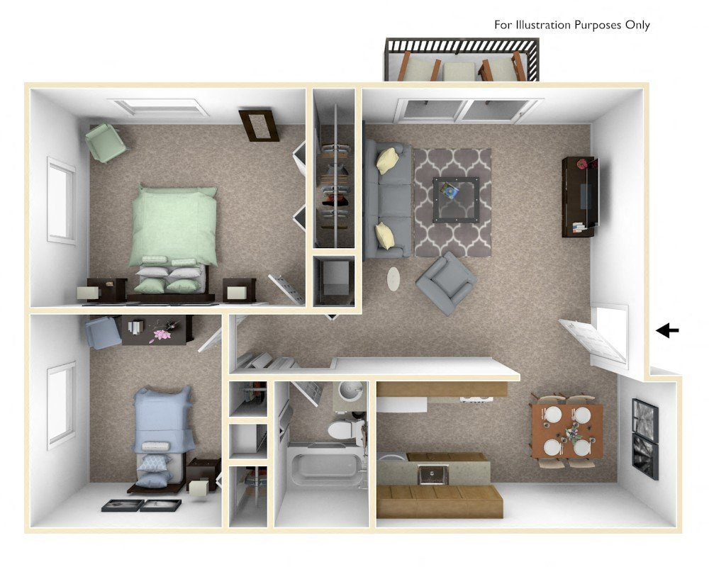 2-Bed/1-Bath, Delphinium floor plan, top view