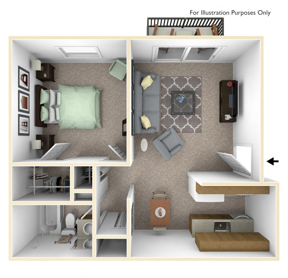 1-Bed/1-Bath, Mum floor plan, top view