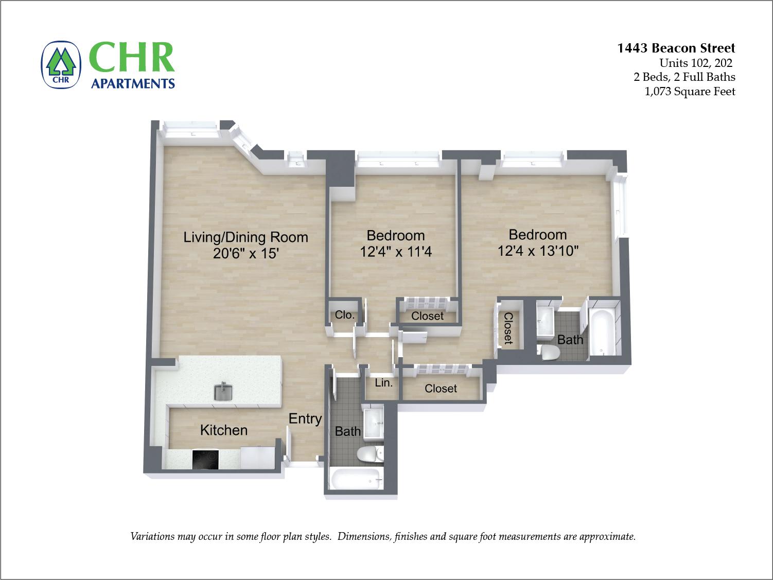 Floor plan 2 BR image 3