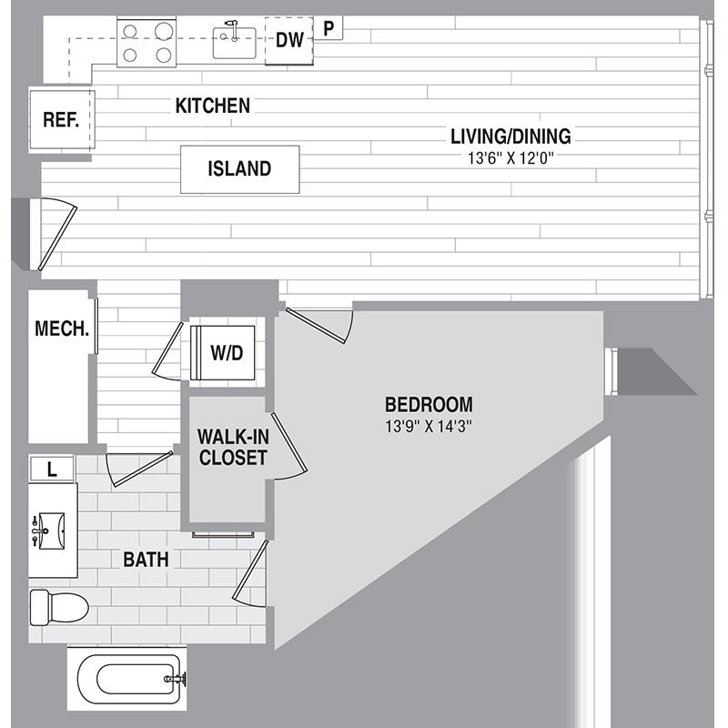 Floor plan for Unit 221