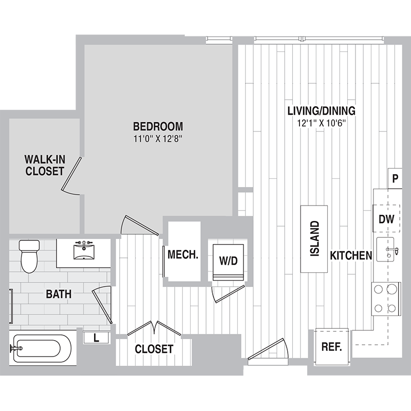 Floor plan for Unit 535