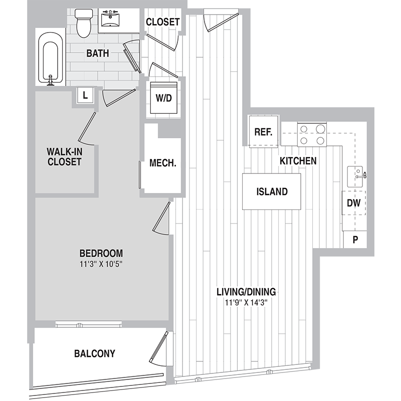 Floor plan for Unit 444