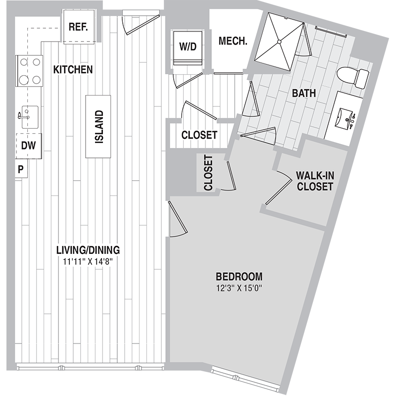 Floor plan for Unit 518