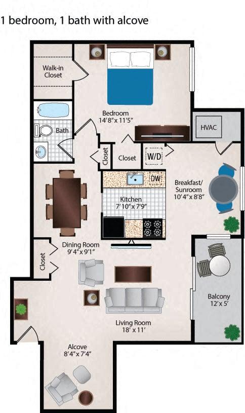 1 Bedroom 1 Bath Alcove