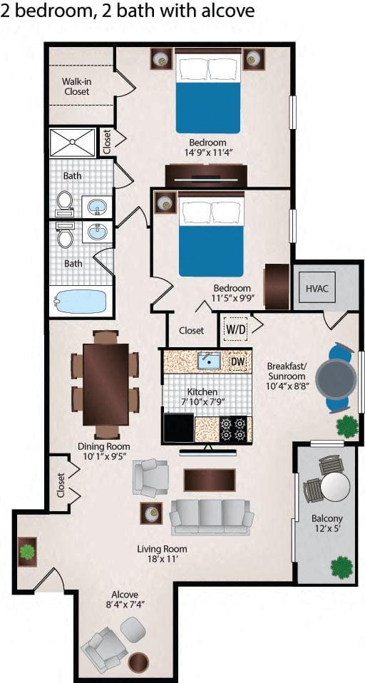 2 Bedroom 2 Bath Alcove