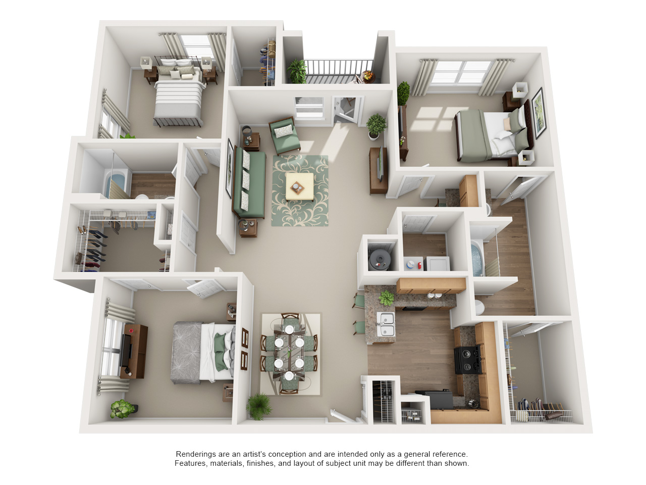 Luxury 1 2 And 3 Bedroom Floor Plans