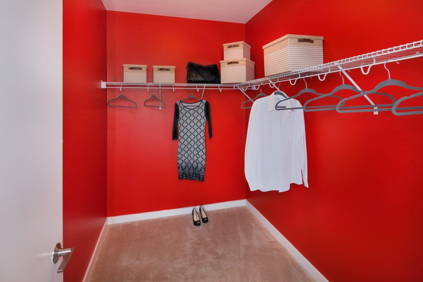 Roomy walk-in closets