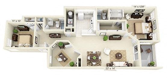 2 Bedroom w/ Den