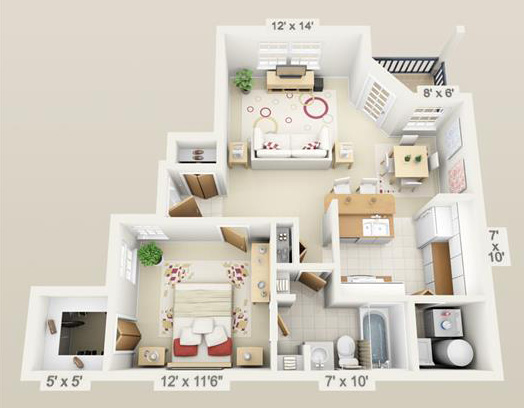Furnished Apartment Floor Plans | Spyglass