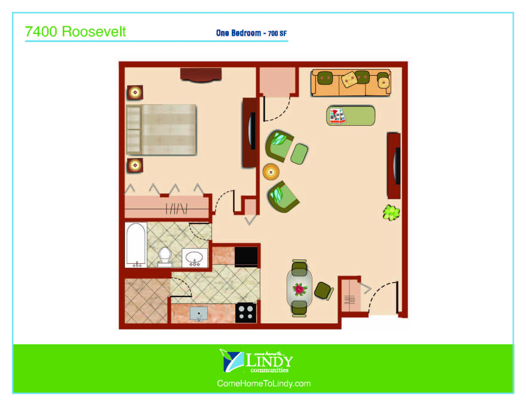 700 square foot 1 bedroom apartment with 1 bathroom.