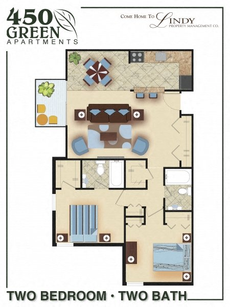 1,165 square foot apartment with two bedrooms and two bathrooms.