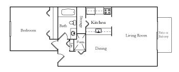 One Bedroom One Bath TU floor plan, top view