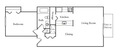 One Bedroom one Bath ET floor plan, top view
