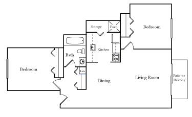 Two Bedroom One Bath TU Spit floor plan, top view