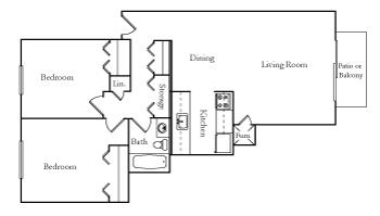 Two Bedroom one Batn ET Together floor plan, top view