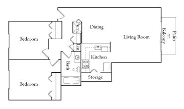 Two Bedroom One Bath TR Split floor plan, top view