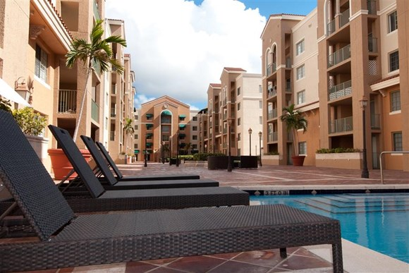 Pool Side Relaxing Area at Gables Grand Plaza, Coral Gables, FL,33134
