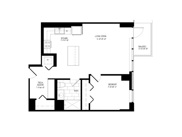 Il chicago parchuron p0508845 floorplan 1 bedroom 1 bath with den 790 1