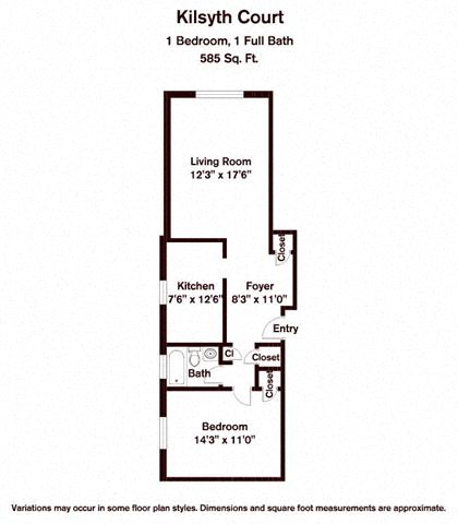 Click to view 1 BR floor plan gallery