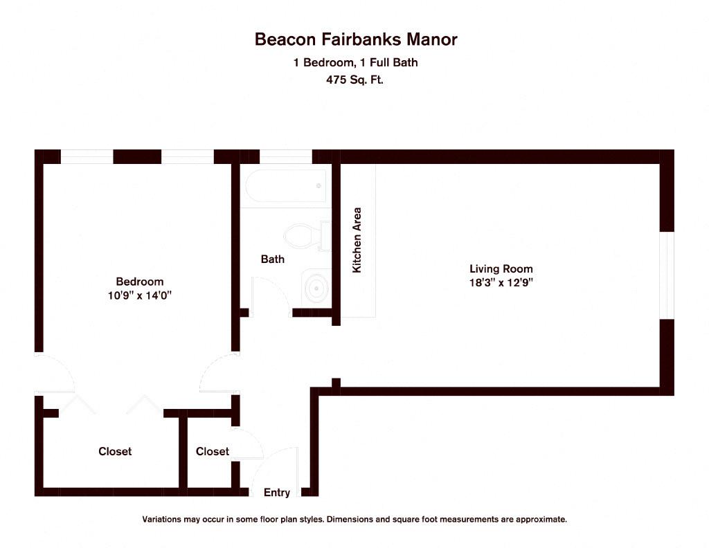 Click to view 1 Bedroom floor plan gallery