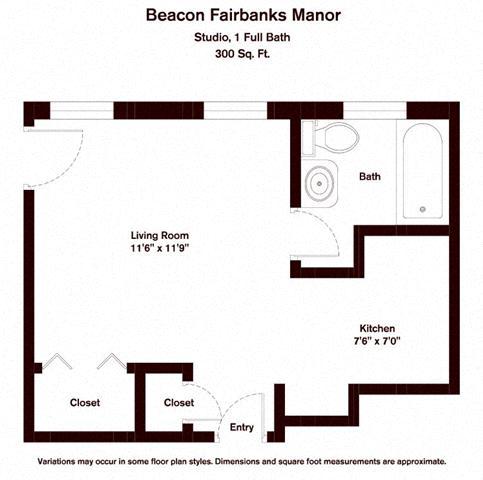 Click to view Studio floor plan gallery