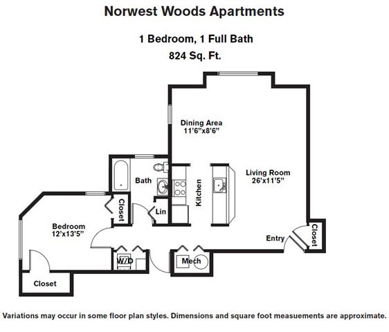Click to view 1 BR - Single Level floor plan gallery