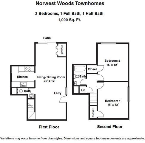 Click to view Floor plan 2 BR - Townhome image 3