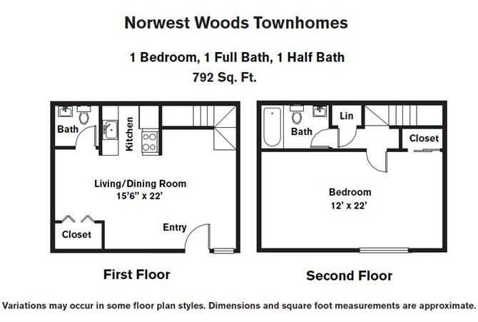 Click to view 1 BR - Townhome floor plan gallery