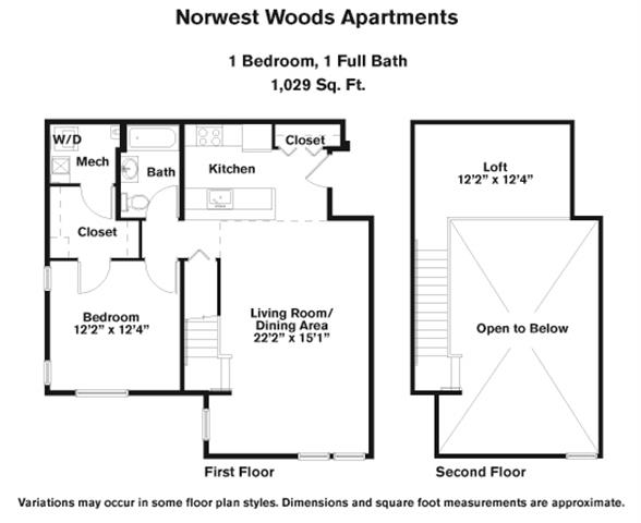 Click to view 1 BR - Loft floor plan gallery