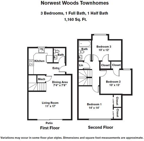 Click to view 3 BR - Townhome (3A) floor plan gallery
