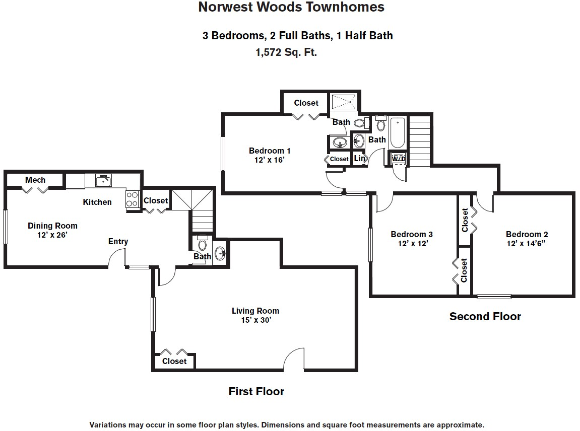 Click to view 3 BR - Townhome (3B) floor plan gallery