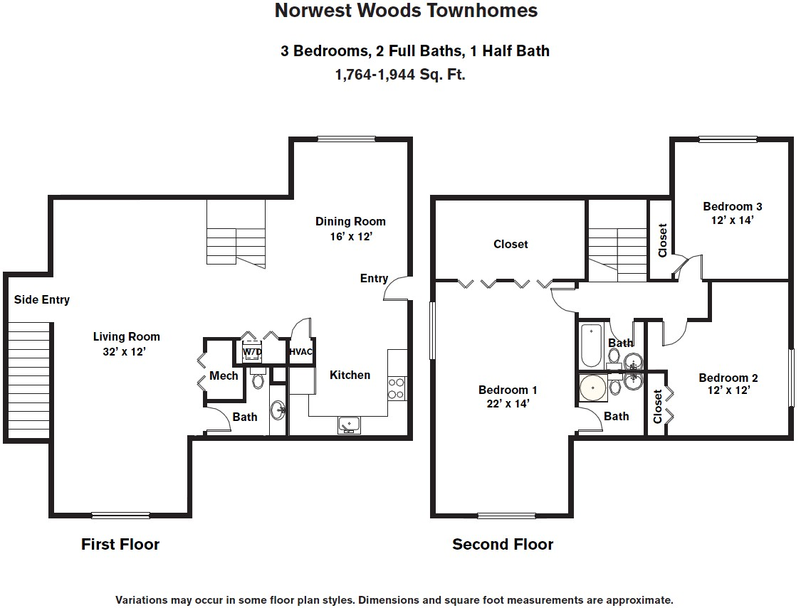Click to view 3 BR - Townhome (3C) floor plan gallery