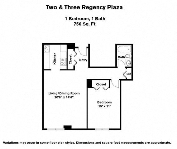 Click to view 1 BR w/ Large Living Room floor plan gallery