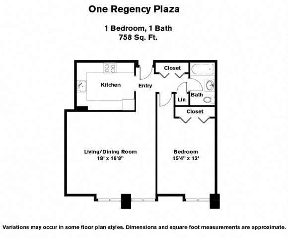 Click to view 1 BR w/ Large Kitchen floor plan gallery