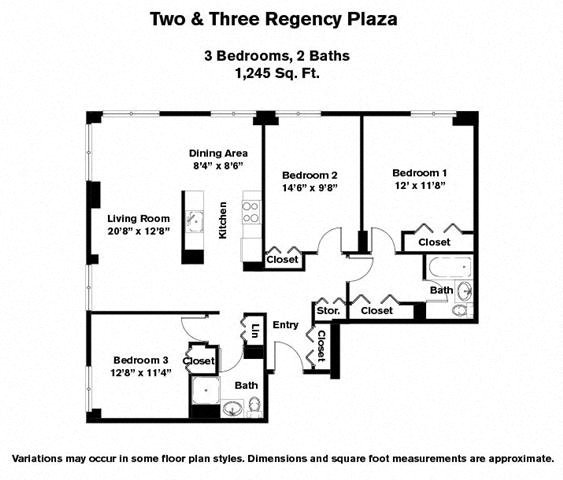 Click to view 3 BR floor plan gallery