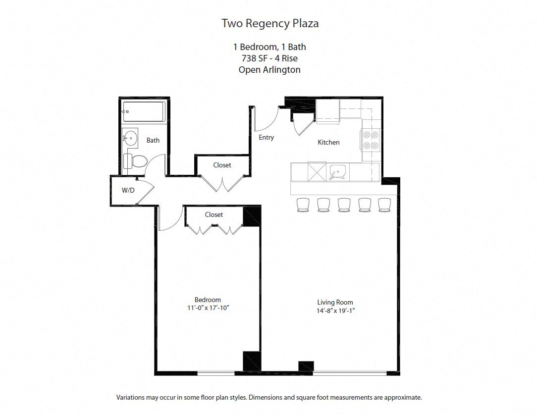 Click to view 1 BR w/ Open Kitchen floor plan gallery