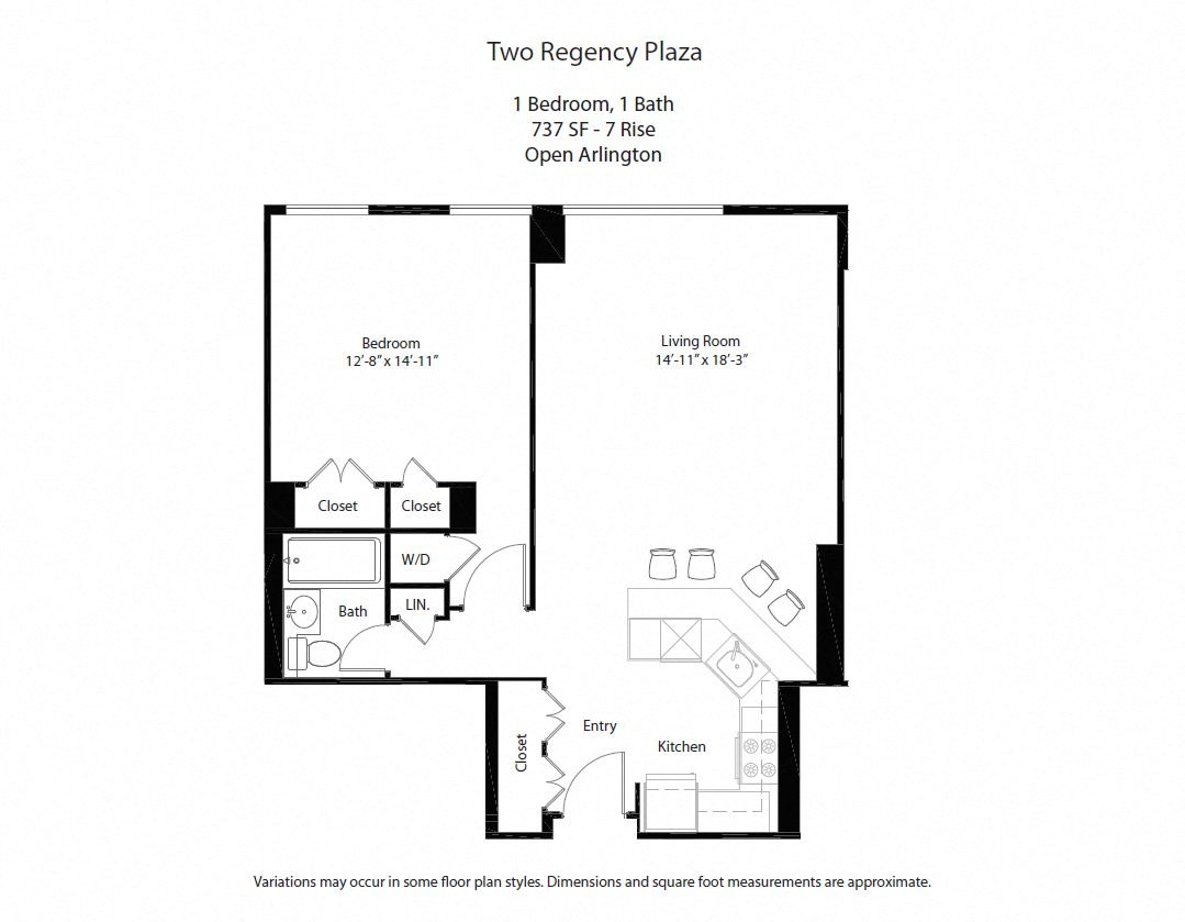 Click to view Floor plan 1 BR w/ Open Kitchen image 2