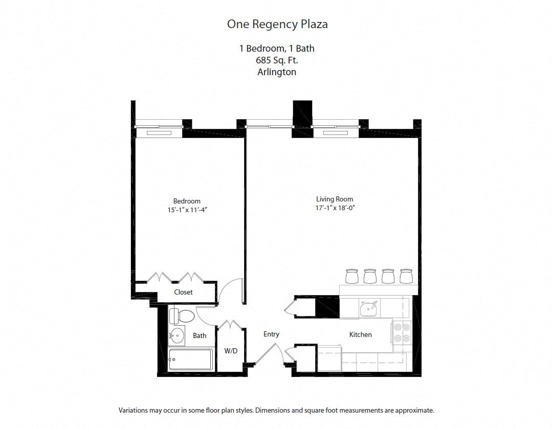 Click to view Floor plan 1 BR w/ Open Kitchen image 3