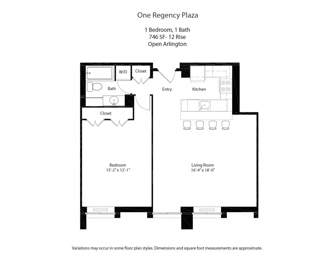 Click to view Floor plan 1 BR w/ Open Kitchen image 4