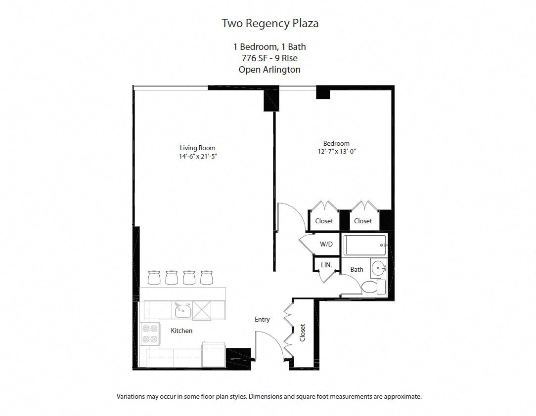 Click to view Floor plan 1 BR w/ Open Kitchen image 5