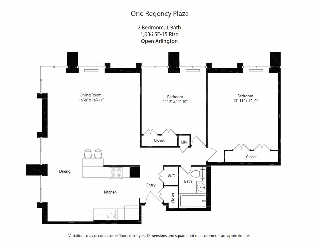Click to view 2 BR w/ Open Kitchen floor plan gallery