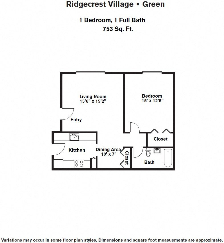 Click to view 1 BR w/ Dining Area & A/C floor plan gallery