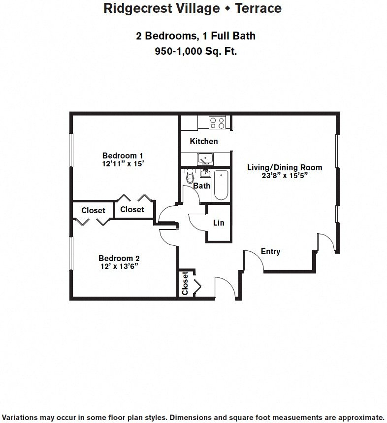 Click to view 2 BR w/ A/C floor plan gallery