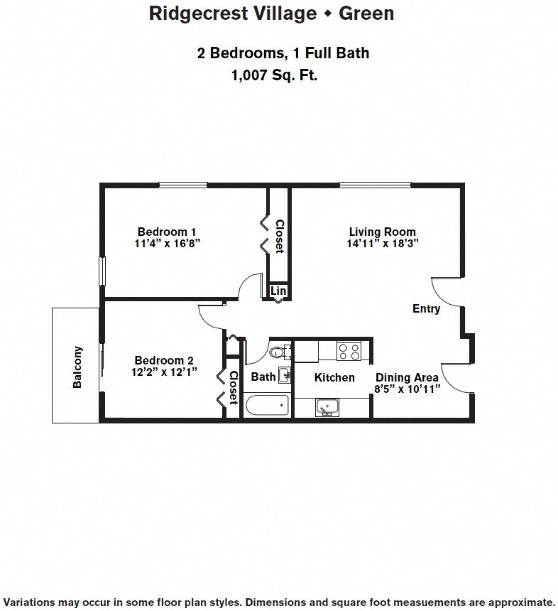 Click to view 2 BR w/ Balcony & A/C floor plan gallery
