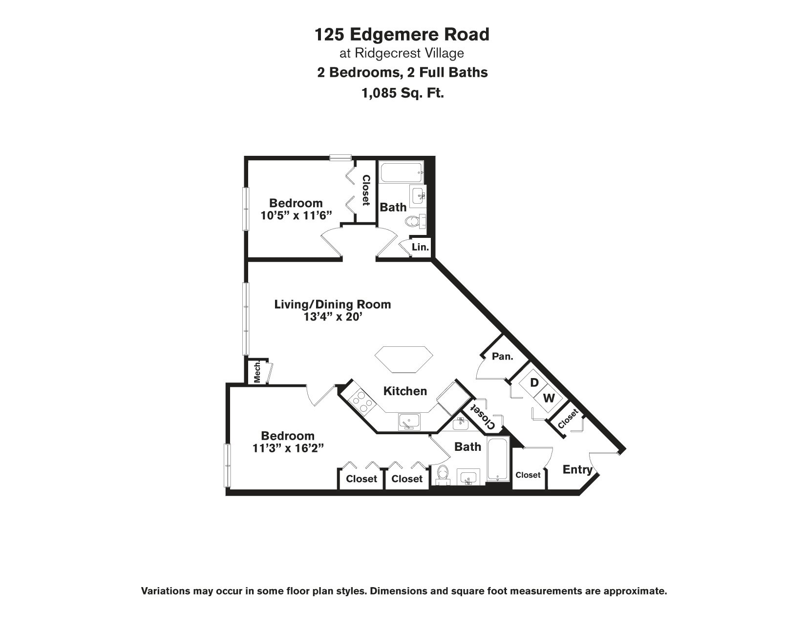 Click to view Floor plan 2 BR - Edgemere image 1