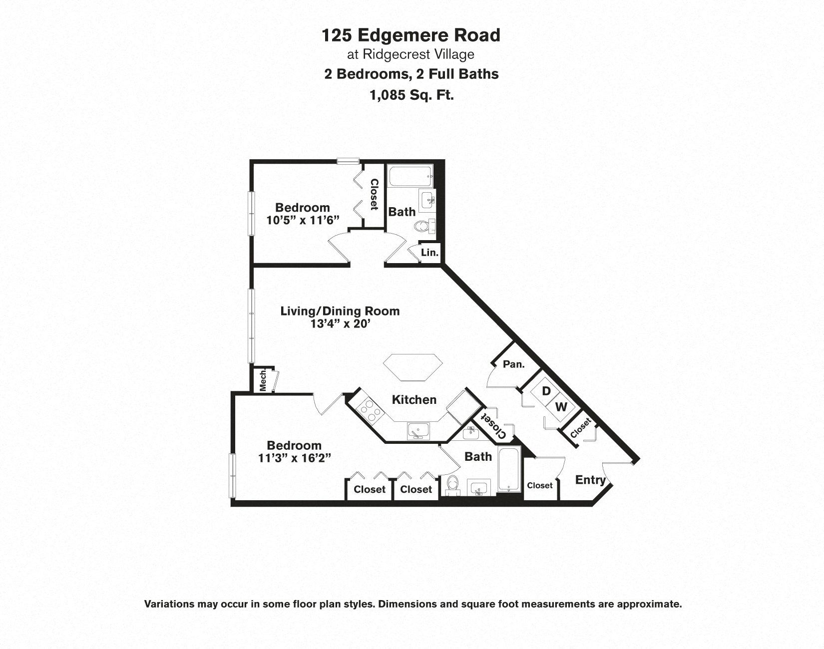 Click to view 2 BR - Edgemere floor plan gallery
