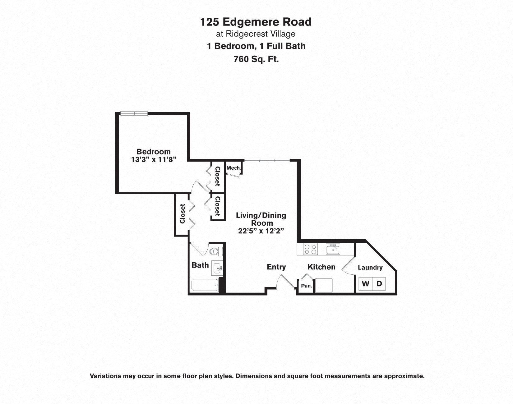 Click to view 1 BR - Edgemere floor plan gallery