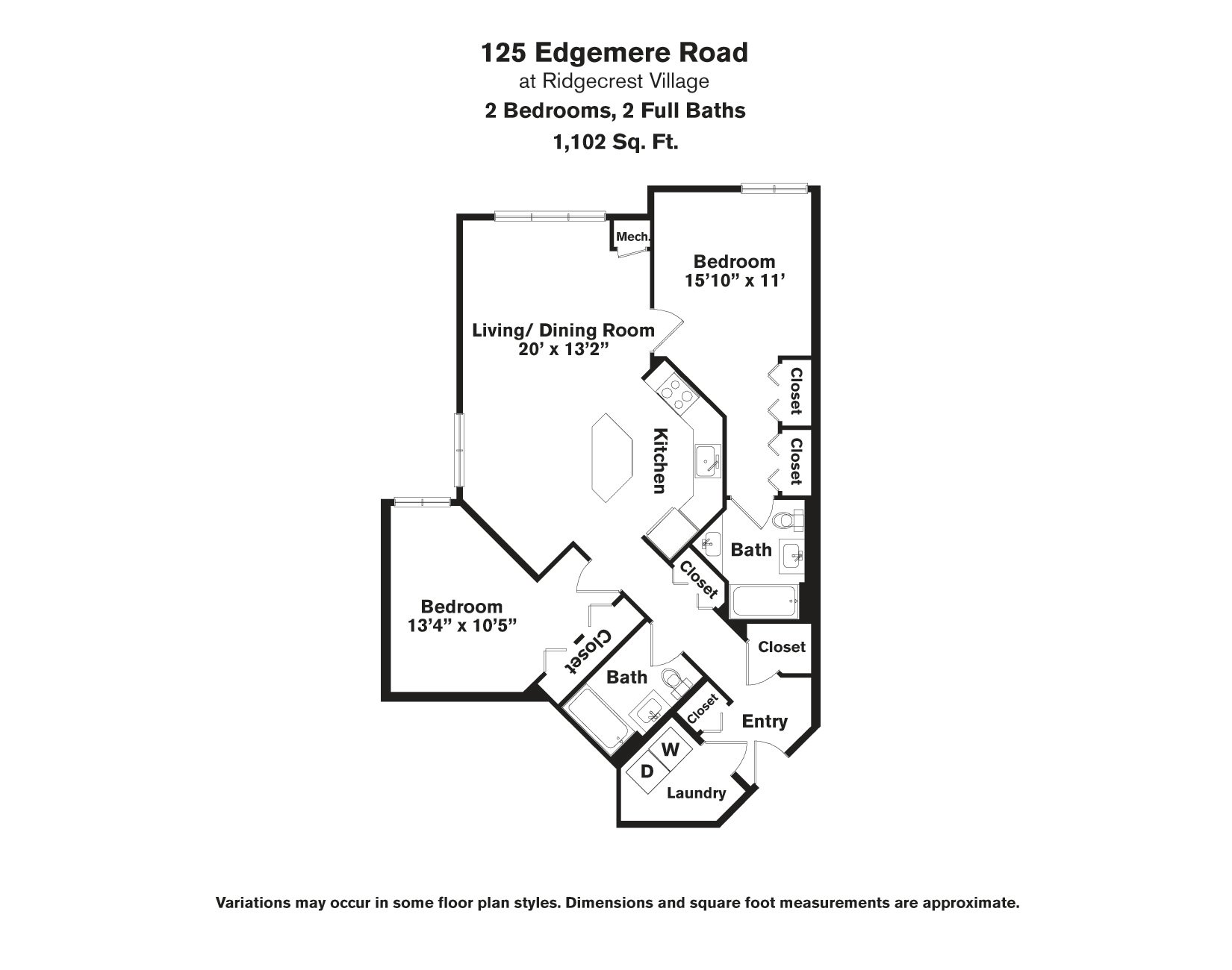 Click to view Floor plan 2 BR - Edgemere image 2