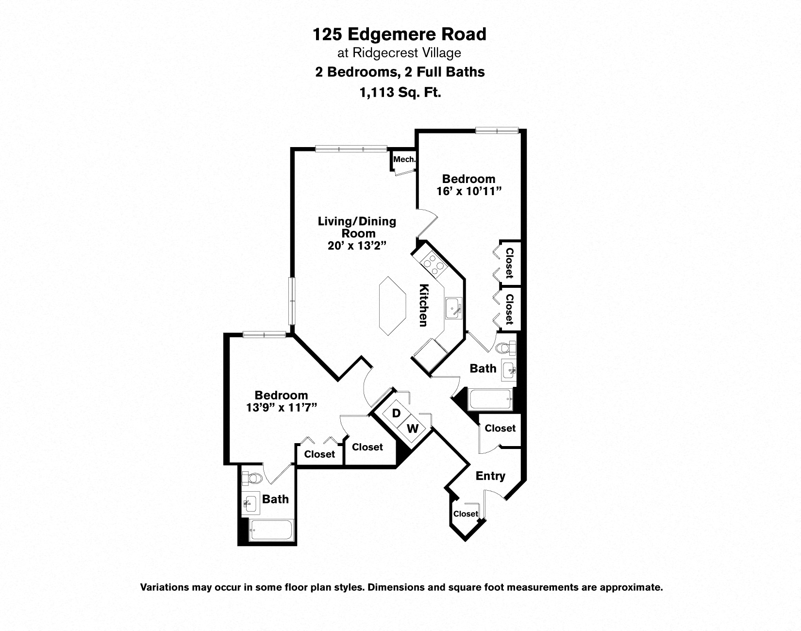 Click to view Floor plan 2 BR - Edgemere image 3