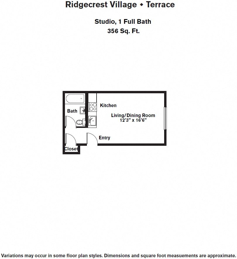 Click to view Floor plan Studio with Full Kitchen image 2